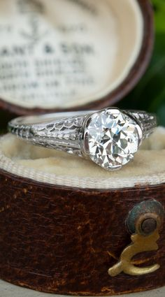 34e6e85f0 1920's Filigree Engagement Ring GIA 1.3CT K/VS2 Old Euro Diamond