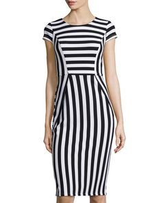 Striped Cap-Sleeve Sheath Dress, Black/White by muse at Neiman Marcus Last Call.