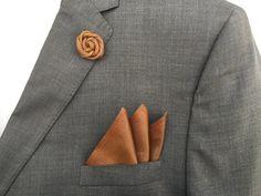 top grain bespoke brown cognac classy top grain leather suits Leather Pocket Square and Lapel Pin weddings pocket lapel dapper