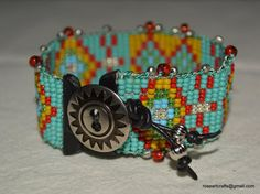 Hand loomed beaded bracelet with multicolored by RoseArtCrafts