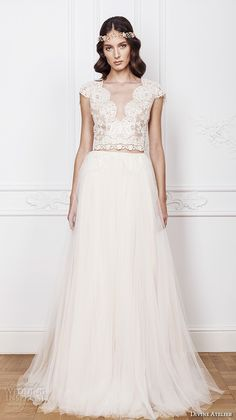 divine atelier 2016 bridal gowns cap sleeves scalloped v neckline lace bodice crop top romantic tulle a line wedding dress open back sweep train (elsa) mv