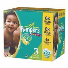 Pampers Baby Dry Diapers Size 3 XL Pack (222 CT) $51.99 #coupay