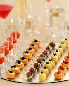 hors d'oeuvres on a mirrored tray