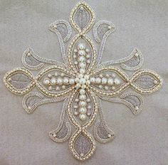 Russian ecclesiastical embroidery, cross for the altar stand.  Beautiful cross with metallic thread and pearls.