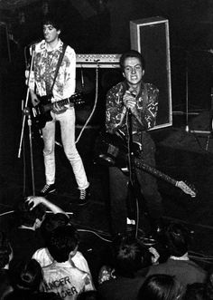 The Clash on stage, 1976. Photo by Julian Yewdall.