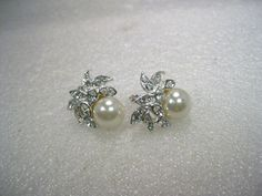 Vintage Sterling Silver Pearl and Rhine Clip Earrings, signed TCA, in Solera, Majorca, Spain Box