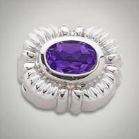 Oval synthetic sapphire purple slide for the GK Coloures collection Metal:Sterling Silver Designer:Goldman-Kolber $ 110.00 Item #: MW9X63 Call 870-863-8818 for personal consultation.