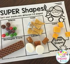 and Shapes! Hands-On Shape FUN! so many fun ideas for teaching shapes in grade!so many fun ideas for teaching shapes in grade! 3d Shapes Kindergarten, Teaching Shapes, Preschool Math, Math Classroom, Fun Math, Teaching Math, Math Help, Maths, Preschool Shapes