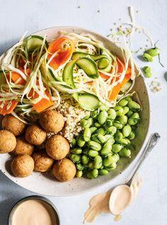 Recipe: Quinoa Bowl with Pickled Vegetables, Edamame and Tofu Balls - Recipes - CBC Life Vegan Vegetarian, Vegetarian Recipes, Healthy Recipes, Quinoa Bowl, Couscous Quinoa, Breakfast Food List, New Recipes, Recipies, Favorite Recipes