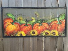 Fall decor  pumpkin on old window screen  by RebecaFlottArts