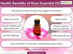 Rose oil helps in getting rid of acne scars, controlling high fever, and relieving muscle pulls and cramps. This best known essential oil, also helps fight depression.