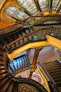 Staircase and stained glass window in the Queen Victoria Building, Sydney