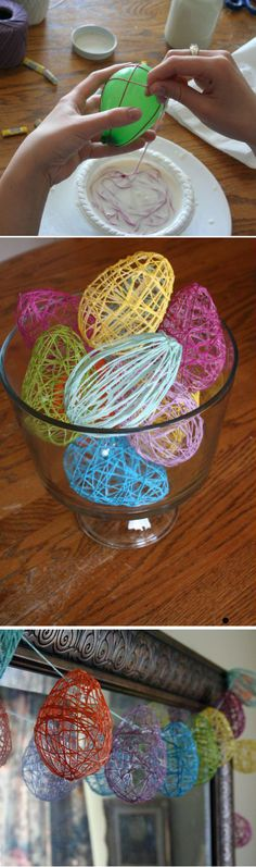 Easter Egg Garland: Wrap string around a blown-up water balloon, coat it with starch glue, and set to dry to create these pretty Easter eggs.  Source: crafty endeavor
