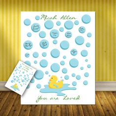 This Adorable Rubber Duck BABY SHOWER signature print is a great choice for a baby shower! It would work great for either gender! It will be a conversation piece at the baby shower as the guest sign-in on a soap bubble. After the shower it will hold an honored place on the nursery wall. This is a great alternative to the usual guestbook. Decide on the size you will need. Give us the babys name or family name. Choose your quote for the bottom, you could even add the shower date. Unless…