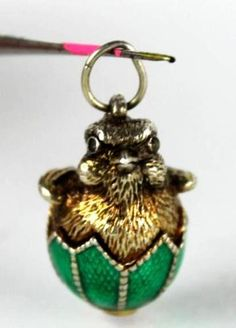 Vtg Sterling Silver 925 Faberge Enamel Guilloche Bird Chicken Charm Pendant MTH | eBay