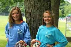 Here are two of our lacrosse players wearing our spirit shirt! It's big and roomy to throw over your jersey like you can see here, but still makes a cute outfit to show your love for the game! Wear this LAX spirit shirt anywhere, at anytime! Find one that first your style at www.varsitygirl.net