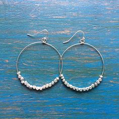 Sparkly Silver Fair Trade Earrings: Sterling Silver Beaded Hoop Earrings that empower mothers in need. Handmade with love in the Dominican Republic by Madres Jewelry.