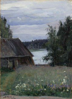 Landscape with a Lake (Mikhail Vasilevich Nesterov - ) Oil Painting For Beginners, Painting Videos, Ilya Repin, Lake Painting, Oil Painting Abstract, Russian Painting, Russian Art, Landscape Art, Landscape Paintings