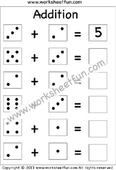 Dice Addition – One Worksheet / FREE Printable Worksheets – Worksheetfun Kindergarten Addition Worksheets, Subtraction Kindergarten, First Grade Worksheets, Preschool Kindergarten, Kindergarten Readiness, Free Printable Math Worksheets, Kids Math Worksheets, Hindi Worksheets, Writing Worksheets