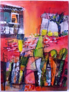 """Original Abstract Acrylic Painting, """"The Road to the Garden House""""-acrylic, 18""""x24""""x1.5"""",painted by Marta Astar by MartaAstar on Etsy https://www.etsy.com/listing/173961337/original-abstract-acrylic-painting-the"""