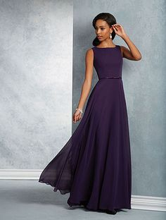 Alfred Angelo Style 7408L: floor length bridesmaid dress with sleeveless bateau neckline, keyhole back and bow detail