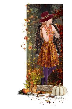 """Doll In Autumn Colors🎃🍁🌻🍄"" by birgitte-b-d ❤ liked on Polyvore featuring art"