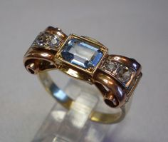 Retro Ring, French , 18K , Three Color Gold, With Aquamarine & Sapphires
