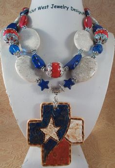 Cowgirl Necklace Set - Chunky Red, White and Blue Howlite Turquoise - Ceramic Texas Lonestar Cross Pendant - pinned by pin4etsy.com