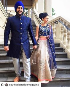 Our charming JADE bride, Payal walking down hand in hand with her beau in delight wearing this regal ensemble. Big Fat Indian Wedding, Indian Bridal Wear, Indian Dresses, Indian Outfits, Indian Clothes, Blue Sherwani, Marriage Dress, Indian Men Fashion, Clothing Photography