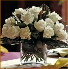 Wedding Packages - White Rose Supreme - Oberer's Flowers Square Vase Centerpieces, White Rose Centerpieces, Photo Cubes, Image Types, White Roses, Packaging, Table Decorations, William Penn, Flowers