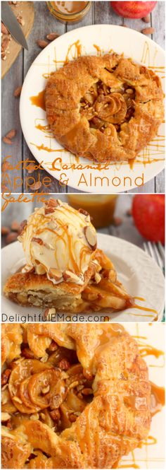 My Salted Caramel Apple & Almond Galette is as easy as pie and tastes even better! Made with a simple pie crust, fresh apples, and topped with Salted Caramel Almonds and a caramel drizzle this pastry is incredible!