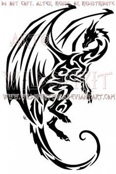 Hovering Tribal Dragon Design by WildSpiritWolf on @DeviantArt