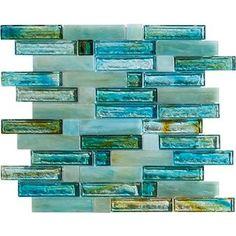 """Marazzi Caicos: Blue Beach 12"""" x 12"""" Glass Mosaic Tile ULMW"""