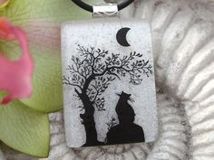 Cat Necklace Cat Jewelry Dichroic Glass Pendant Cat   by ccvalenzo, $30.00