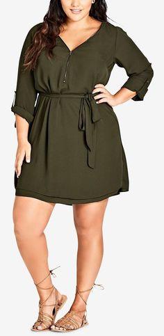 Plus Size Zip-Front Tunic Dress #plussize
