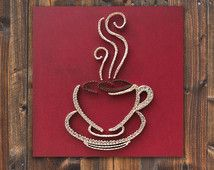 String art coffee, coffee cup wall hanging, strings and nails art, red coffee…