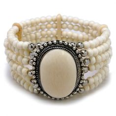 Beaded Bracelet with Center Pendant.