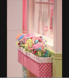 Indoor flower box for girls room