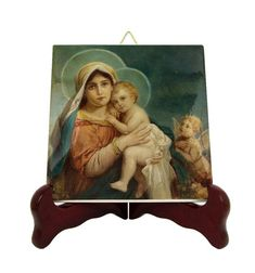 Religious Art - Madonna and Child - Religious icon on tile - Hans Zatzka - Catholic gifts - Virgin and Child - Virgin Mary and Jesus - Holy Catholic Gifts, Catholic Prayers, Religious Gifts, Religious Icons, Religious Art, Tile Murals, Tile Art, Mary And Jesus, Madonna And Child