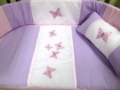Butterfly baby quilt set - beautifully handcrafted in 100% cotton chambray. Made to fit large cot 1.3m X 66cm.  Order:  orders@borderboutique.co.za