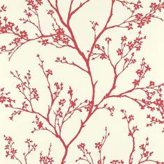 F. Schumacher 5003343 Twiggy wallpaper in Raspberry