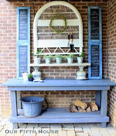 Transformed work bench into a custom potting bench.  Great idea!