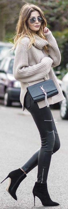 Missguided Stone Turtleneck, Zara Black Biker trousers, Black Public Desire…
