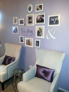 This gallery wall was fun for me to create for one of my favorite couples. I had them search for their favorite wedding and trip photos and then created a gallery that symbolized their love for one another. A beautiful phrase applique and a random ampersand completed the look for a lovely focal point above a pair of chairs. @Michelle Ortiz-Dunbar
