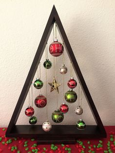 DIY Wood A Frame Triangle Ornament Stand