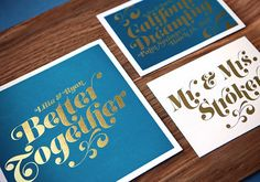 Teal and Gold Foil Wedding Invitation