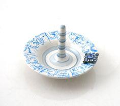 ceramic ring holder with blue rhinestone embellishment by LennyMud, $18.00