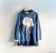 Women's Cozy Hooded Jacket Color Rain Cloud by BrokenGhostClothing