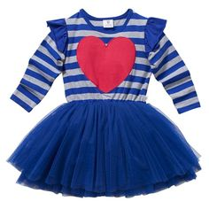 Every baby girl needs the first of many tutu frocks! Hootkid has a darling collection that not only look adorable, but are comfy and practical. Soft stretchy cotton long sleeve top in a stylish cobalt and grey marle stripe with layers of soft, lush tulle. A big hot pink heart embroidered right on the front is the perfect finishing touch. Don't miss the sweet coordinating hair accessories..