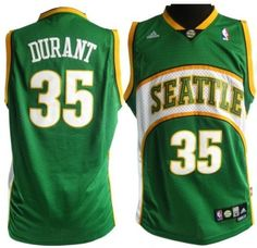 This jersey is what Durant wore during his days with the Seattle Supersonics . This adidas jersey is of high· quality· and has the numbers and letters stitched on .